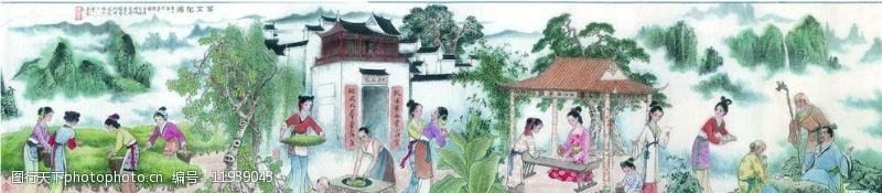 采茶图茶文化图图片