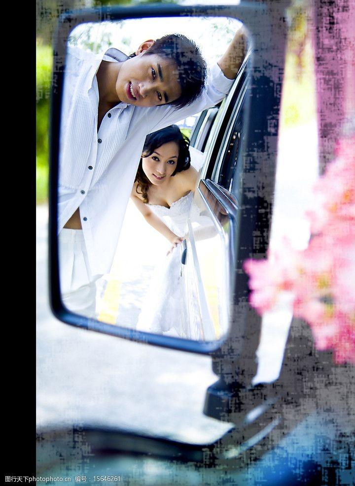 观后镜婚纱摄影样片婚纱情侣图片