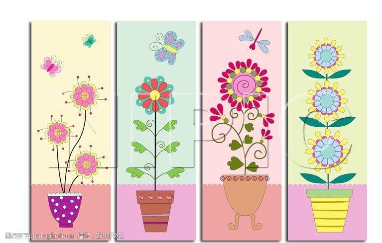 矢量无框画超级卡通的小花