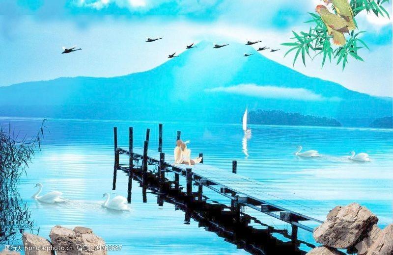 湖水情侣湖边风景图片